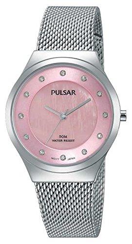pulsar-damen-kleid-uhr-silber-ton-mesh-armband-pink-perlglanz-swarovski-set-zifferblatt