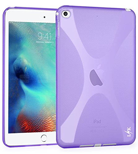 iPad Mini 4 Case, LK X Shape Slim Thin TPU Gel Rubber Soft Skin Protective Case Cover for Apple iPad Mini 4 7.9 Inch 2015 Model + Stylus Pen, Purple (Ipad Mini Protective Skin compare prices)