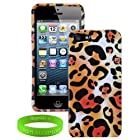 Apple iPhone 5 4G LTE 2 Piece Hard Snap on Case Front and Back Cover with Unique Cheetah Design + VanGoddy Brand LIVE LAUGH LOVE Wrist Band