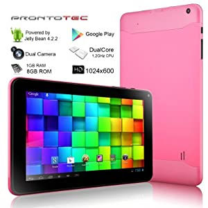 ProntoTec 9 Inch HD Android Tablet PC, Cortex A9 Dual Core 1.2 Ghz, HD (1024 x 600 Pixel) Touch Screen, Android 4.2 OS, 8G Nand Flash, DDR3 1GB RAM, Dual Cameras, Wi-Fi, G-Sensor (Pink) by ProntoTec