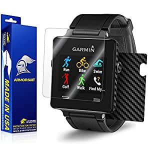 ArmorSuit MilitaryShield Garmin Vivoactive Screen Protector + Black Carbon Fiber Full Body Skin Protector / Front Anti Bubble Ultra HD & Touch Responsive Shield
