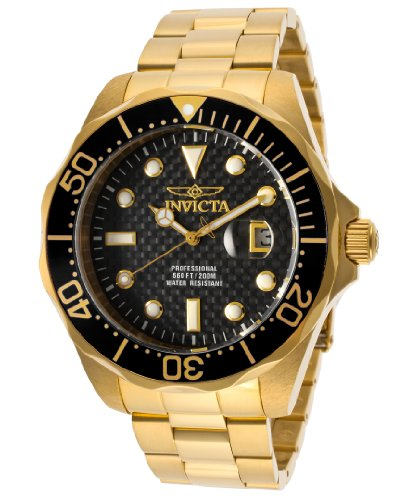 Invicta Men's 14356 Pro Diver Black Carbon Fiber Dial 18k Gold Ion-Plated Stainless Steel Watch