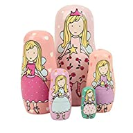 Set of 5 Cutie Lovely Pink Angel Nesting Dolls Matryoshka Madness Russian Doll Popular Handmade Kids…