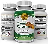 Turmeric Suplemento anti-inflamatorio, 120 cápsulas de 450 miligramos de Alta Potencia, 95% de curcumina, el más fuerte, El más eficaz Para el Alivio de Dolor Natural, Articulaciones sanas. Antioxidante Poderoso, Limpia el Sistema Digestivo, Alivia l