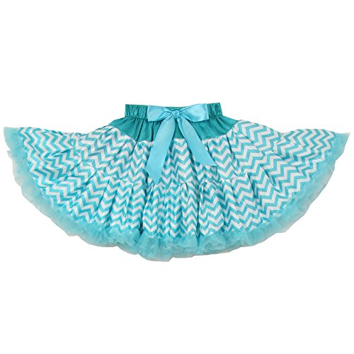 Cinderella Couture Little Girls Turquoise Chevron Bow Tutu Birthday Skirt 2-6