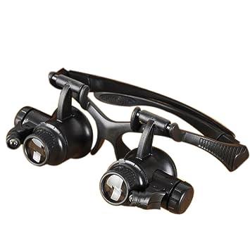 【クリックで詳細表示】UTOKY LED 付 ヘッドルーペ 眼鏡式 拡大鏡 10倍 15倍 20倍 25倍 精密作業に最適