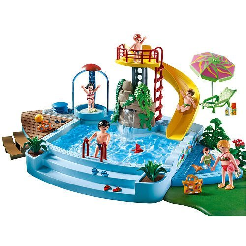 Playmobil 4858 open air pool with slide swimming pool stuff - Playmobil swimming pool best price ...