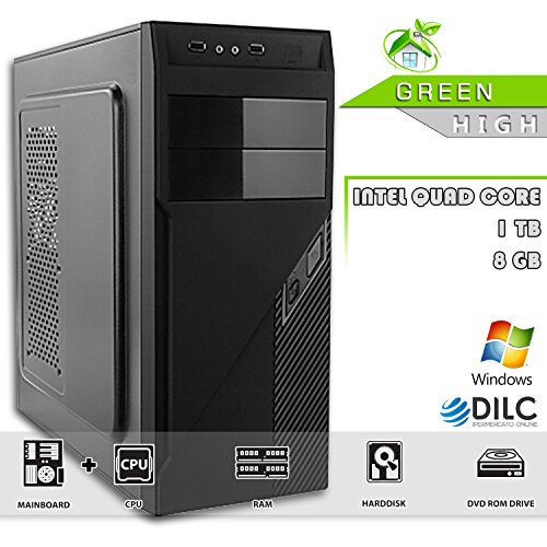 PC DESKTOP ASSEMBLATO COMPLETO - DILC GREEN HIGH - COMPUTER FISSO Intel QUAD CORE 2GHZ / RAM 8GB / Hard Disk 1TB / DVD-RW / 500W / LED FAN / SISTEMA OPERATIVO WINDOWS