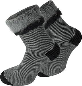 3 Paar Sehr Warme Polar Socken mit Vollplüsch und Schafwolle / Nie wieder Kalte Füße ! Farbe Extrem/Hot/Grau/Schwarz Größe 47-50