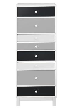 Moderne Kommode Hoch Schmal 40 x 34 x 120 cm mit 8 Schubladen Weiß Grau