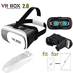 Premsons Latest Arrival. VR BOX 2.0 Virtual Reality Glasses, 2016 Hottest 3D VR Headsets for 4.7~6 Inch Screen Phones iphone 4S, iphone 5s, IPhone 6 / 6 S , Samsung LG Sony HTC, Nexus 6,Oneplus Moto etc - Inspired by Google Cardboard, Oculus Rift and Samsung Gear 2016 with bluetooth remote control.