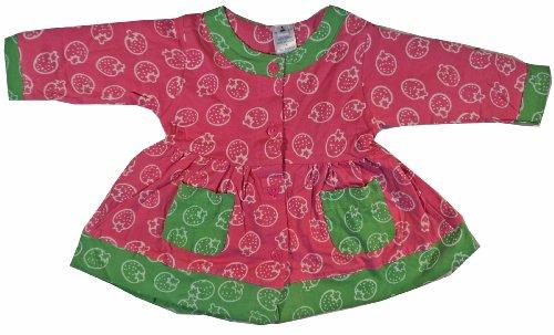Baby Girls Dress 100% Cotton Jersey Pink-Green