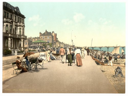 1890s photo The Promenade, Deal, England. Photochrom (also called the Aäc process) prints are colori