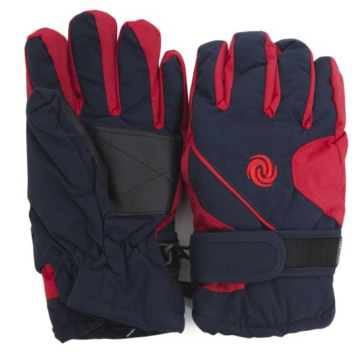 FLOSO® Kids/Childrens Extra Warm Thermal Padded Ski Gloves With Palm Grip (4-8 years) (Navy/Red)