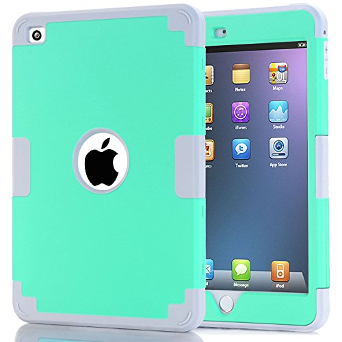 iPad Mini 4 Case, Speedup 3in1 Hybrid Shockproof Hard Plastic with Soft Silicone Bumper Triple Layer Armor Full Body Protective Case Cover Case For iPad Mini 4 (Mint + Grey) (Ipod Touch Loop Space Gray compare prices)