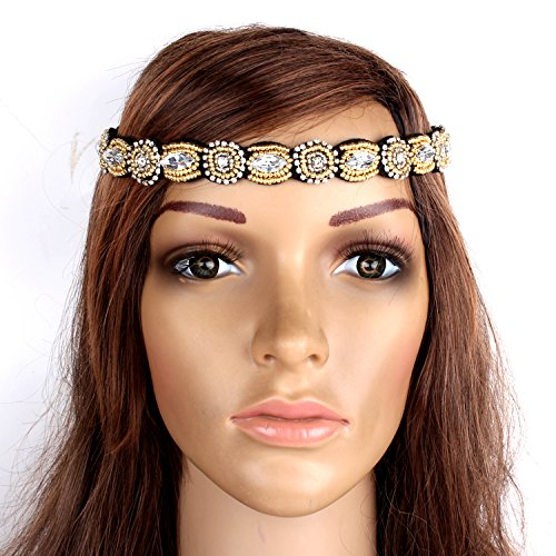 Ulike2 Handmade Rhinestone Crystal Bohemia Stylish Beaded Elastic Fashion Headband Hair Band Accessories Gold front-355320