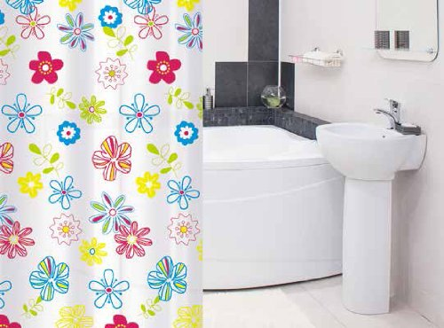 Tatkraft FLOWERS Modern shower curtain 180 x 180 cm Waterproof material PEVA incl. 12 oval shower rings, 2 plumb-magnets for better fixation