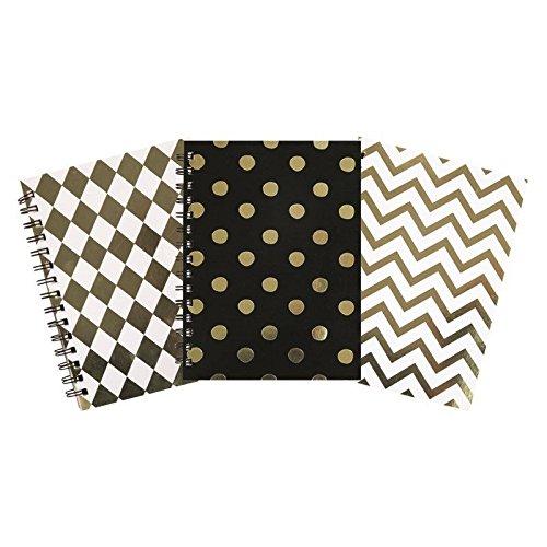 Invero-3x-Satz-von-A5-Dekorative-Metallische-Wirebound-Notepad-Buch-fr-Haus-Bro-oder-zurck-zu-Schule-240-Seiten