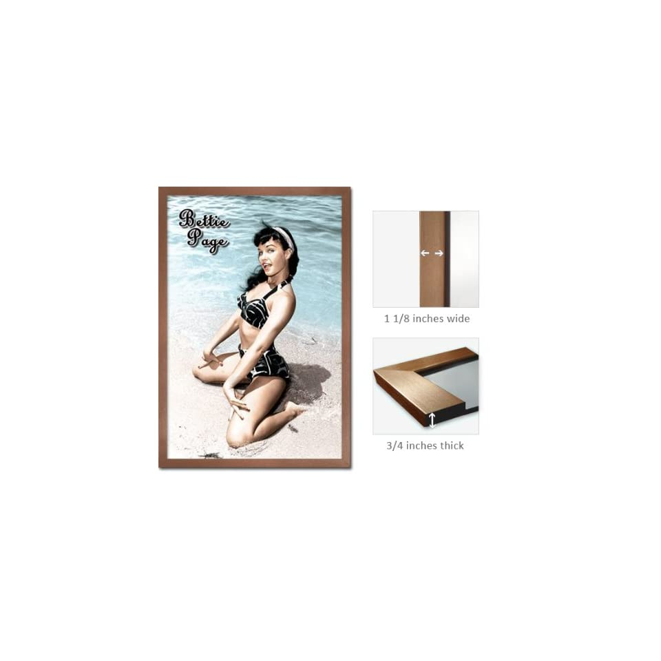 Bronze Framed Bettie Page Poster Pin Up Girl Beach FrRp522