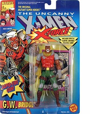 G.W. Bridge Action Figure - X-Men - X-Force Series - w/ Rapid Fire Ratchet Gun - Toy Biz - Marvel - W/ Trading Card - Limited Edition - Collectible - 1