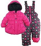 Pink Platinum Baby Girls Snowflake Printed Two Piece Snowsuit Ski Bib Pant Set, Pink Glo, 12 Months