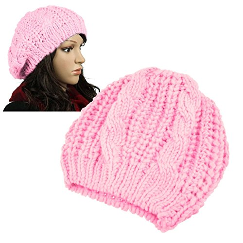 Insten Women Knit Crochet Hat, Pink (Ski Company Stickers compare prices)