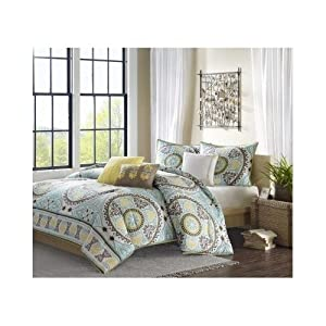 Modern Cotton Duvet Paisley Brown Yellow Blue Bedding Set with Pillows and Shams (full/queen)