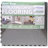 "Best Step Interlocking Comfort Flooring. 8 Pack plus Borders (2' x 2' x 3/8"") (one Pack of 8 Tiles = 32 sq. ft.) Anti-Fatigue, Microban Protected, Charcoal Gray Foam Flooring"