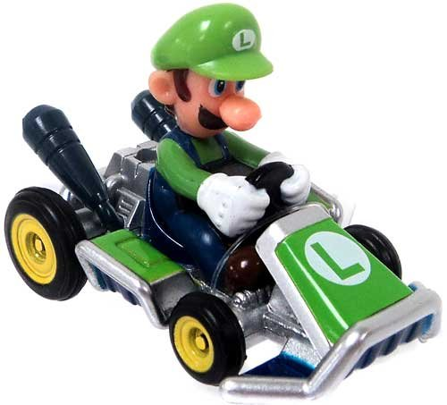 Mario Kart Tomy Ertl Mini Figure Luigi in Go-Kart