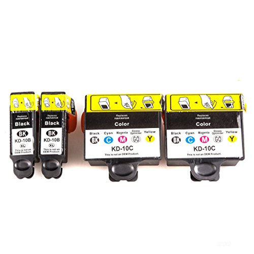 Compatible Ink Cartridge Replacement for Kodak 10 (2 Black, 2 Tri Color, 4-Pack)