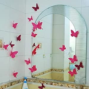 24pcs 3D Butterfly Wall Stickers Decor Art Decorations Pink 3 Size from Beautymall