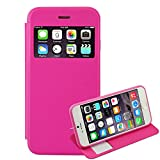 """First2savvv PT-IPHONE6-5.5-C02 pink Smart View PU leather Wallet Magnet Design Flip Case Cover with stand for Apple iPhone 6 Plus 5.5"""""""