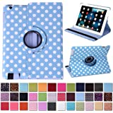 HDE 360 Degree Rotating Leather Case Stand Smart Cover for iPad 2/3/4 Retina w/ Battery Saving Wake Sleep Function (Blue & White Polka Dot)
