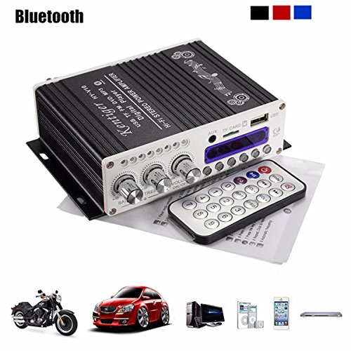 Amplificatore stereo Mini Bluetooth,ELEGIANT 12V Hi-Fi Mini Bluetooth Auto MP3 Amplificatore audio stereo AMP Scooter Booster Radio MP3 Amplificatore MP3 per Auto Motor CD DVD Nero