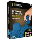 National Geographic Play Sand - 2 LBS of Sand with Castle Molds - 3 Color Options - Blue