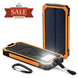 Solar Cell Phone Charger, Grandbeing 15000mAh Solar Power Bank Portable Dual USB Outdoor External Battery Pack for iPhone, Samsung, HTC, Nexus Smartphone, Gopro Camera, GPS and Tablets, Orange