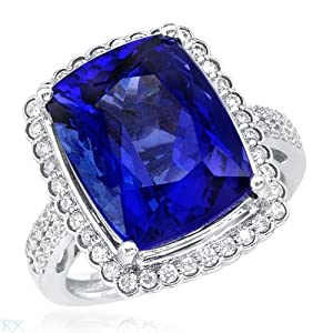 Cocktail Ring With 10.78ctw Precious Stones - Genuine Clean Diamonds and Tanzanite Made in 18K White Gold. Total item weight 9.0g (Size 7)