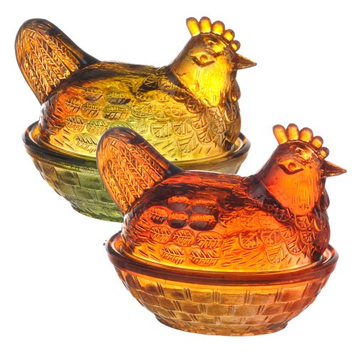 Grasslands Road Glass Hen Trinket Box Assortment, 2-Inch, Set Of 6