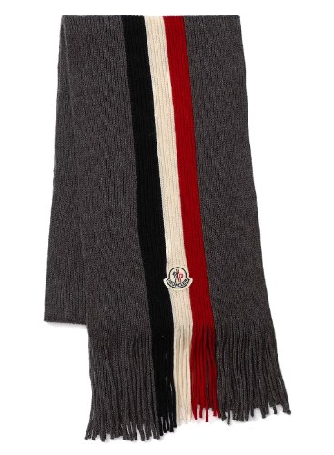 Moncler Moncler Wool Classic Logo Scarf Grey With Fringed Made In Italy