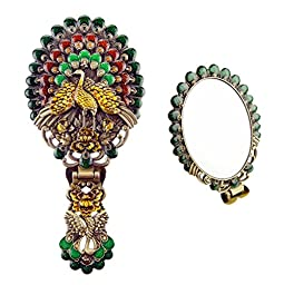 Ivenf Vintage Metal Oval Make-Up Hand/Table Mirror, Peacock Spread Tail, Green