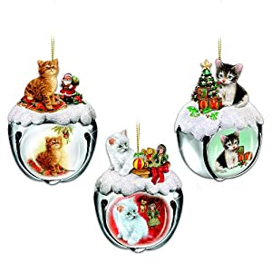 Purrfect Holiday Sleigh Bells Cat-Themed Christmas Ornaments: Set One by The Ashton-Drake Galleries