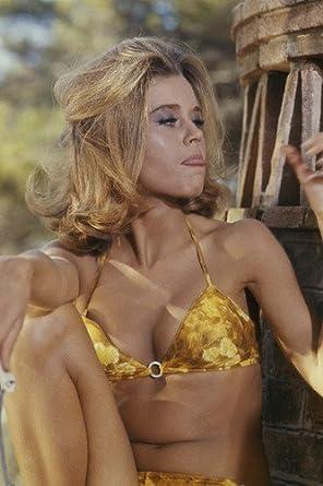 Jane Fonda sexy image 1967 in yellow bikini seated 24x36 Poster at
