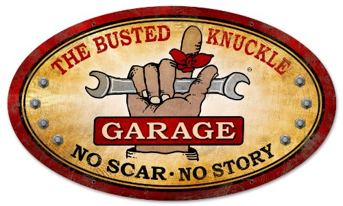 Busted Knuckle Garage BUST044 Oval Metal Shop Sign (Busted Knuckle Garage Clock compare prices)