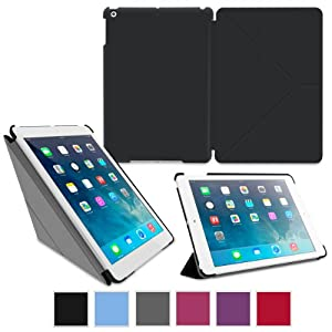 rooCASE Apple iPad Air Case - Slim Shell Origami Case for Apple iPad Air 1 2013 (Previous Model, 5th Generation) Tablet, BLACK (With Smart Cover Auto Wake / Sleep)