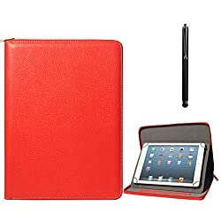 DMG Zippered Portfolio Cover Stand Case with Accessory Pockets for Digiflip Pro ET701 (Red) + Capacitive Touch Screen Stylus
