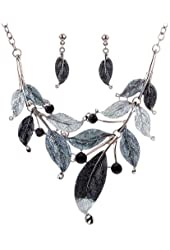 Yazilind Vintage Design Tibetan Silver Gray Bleak Leaf Branch Crystal Chunky Bib Earrings Necklace Set