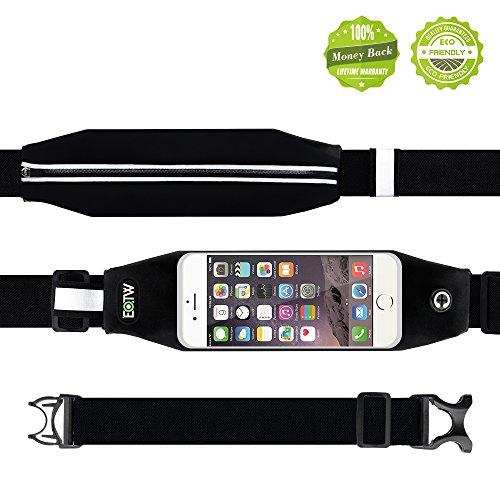EOTWR ランナーウェストポーチ ランニング ジョギング ポーチ  防水性付き スマホ ウェスト バッグ 調整可能 ベルト タッチスクリーン iPhone Galaxy Sony 大画面 スマートフォン 収納可能  ブラック (4.7インチ)