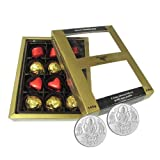 Chocholik Luxury Chocolates - Gift Of Elegance 12pc Chocolate Box With 5gm X 2 Pure Silver Coins - Diwali Gifts