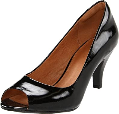 Clarks Women's Cynthia Avant Open-Toe Pump,Black Patent,7.5 M US