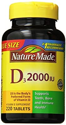 Nature Made Vitamin D3 2000 IU, Value Size, 220-Count (Pack of 3)